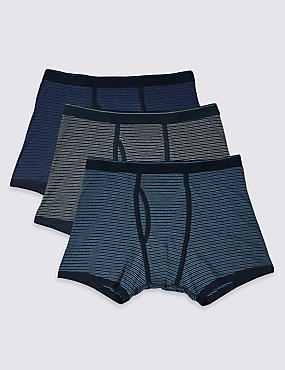 3 Pack Pure Cotton Cool & Fresh™ Trunks, MULTI, catlanding