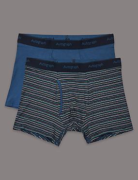 2 Pack Modal Blend Striped Trunks, NAVY MIX, catlanding
