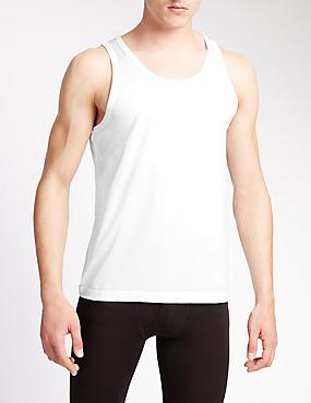 2 Pack Pure Cotton Mercerised Vests, WHITE, catlanding