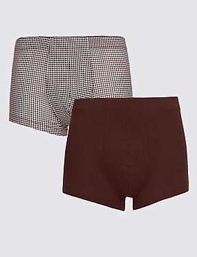 2 Pack 4-Way Stretch Cotton Houndstooth Print Hipsters