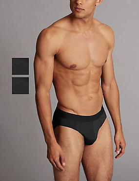2 Pack Micro Skin Briefs, BLACK, catlanding
