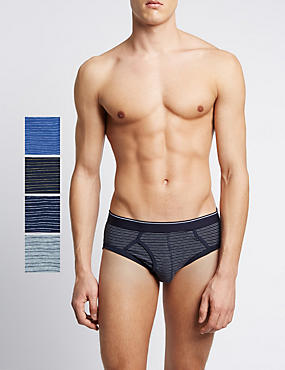 4 Pack Pure Cotton Cool & Fresh™ Striped Briefs with StayNEW™