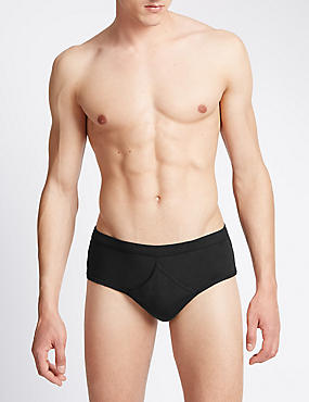 4 Pack Pure Cotton Briefs with StayNEW™, BLACK, catlanding