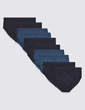 10 Pack Pure Cotton Briefs with StayNEW™, NAVY/BLUE, catlanding
