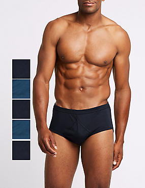 5 Pack Pure Cotton Briefs with StayNEW™ , NAVY/BLUE, catlanding