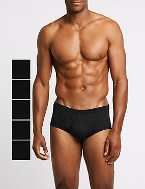 5 Pack Pure Cotton Briefs with StayNEW™ , BLACK, catlanding