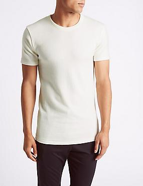 Wool Blend Short Sleeve Thermal Vest, CREAM, catlanding