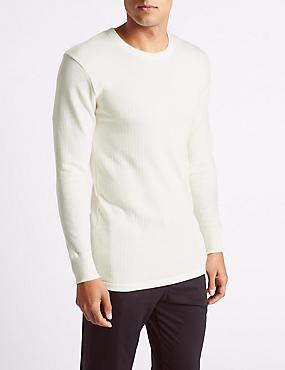 Wool Blend Long Sleeve Thermal Vest, CREAM, catlanding