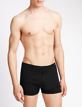 3 Pack Pure Cotton Trunks with StayNEW™, BLACK, catlanding