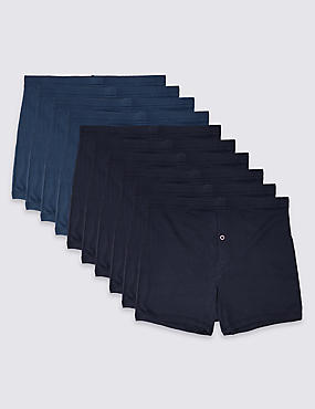 10 Pack Pure Cotton Trunks with StayNEW™, NAVY/BLUE, catlanding
