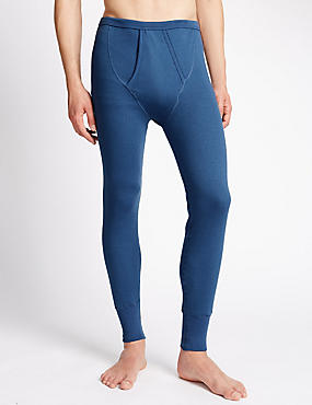 Cotton Blend Thermal Long Johns, BLUE, catlanding