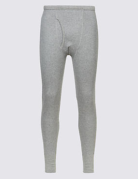 Cotton Blend Thermal Long Johns, GREY, catlanding