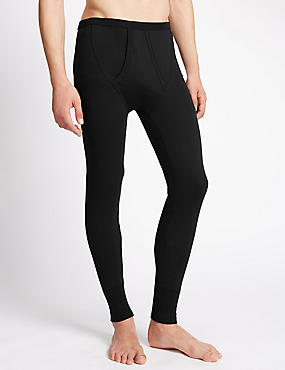 Cotton Blend Thermal Long Johns, BLACK, catlanding