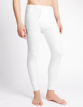 Cotton Blend Thermal Long Johns, WHITE, catlanding