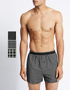 3 Pack Pure Cotton Assorted Monochrome Boxers with Cool & Fresh™