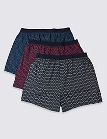 3 Pack Pure Cotton Stretch Printed Boxers
