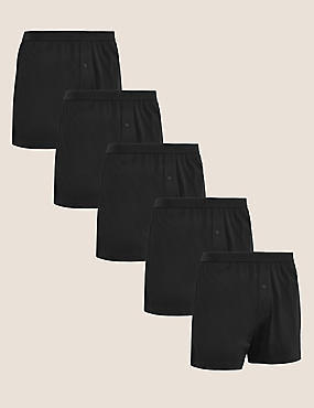 5 Pack Cotton Jersey Boxers, BLACK, catlanding