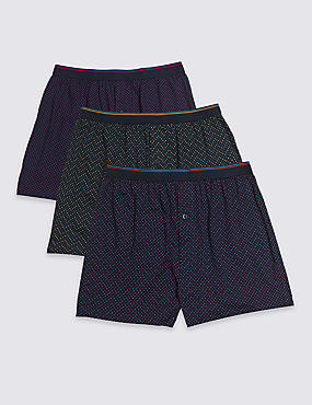 3 Pack Pure Cotton Spotted Jersey Boxers
