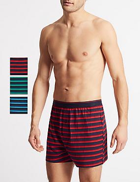 3 Pack Cotton Rich Striped Boxers, MULTI, catlanding