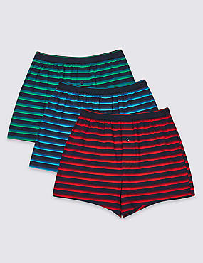 3 Pack Cotton Rich Striped Boxers