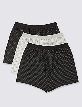 3 Pack Cool & Fresh™ Pure Cotton Boxers, BLACK/GREY, catlanding