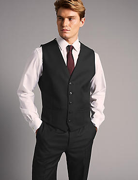 Black Tailored Fit Wool Waistcoat, BLACK, catlanding