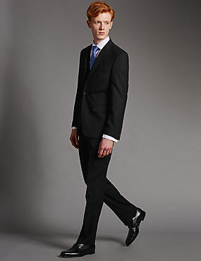 Big & Tall Black Tailored Fit Suit with Waistcoat