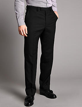 Black Tailored Fit Wool Trousers