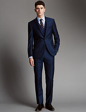 Blue Tailored Fit Wool 3 Piece Suit