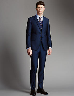Blue Slim Fit Wool 3 Piece Suit