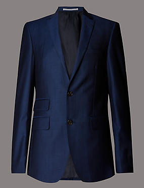 Big & Tall Blue Wool 3 Piece Suit