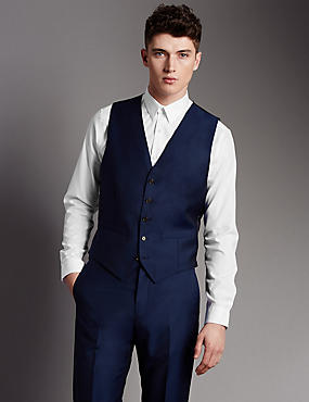 Blue Tailored Fit Wool Waistcoat