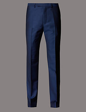 Big & Tall Blue Tailored Fit Wool Trousers