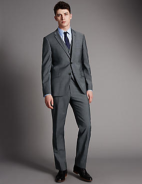 Grey Tailored Fit Wool 3 Piece Suit