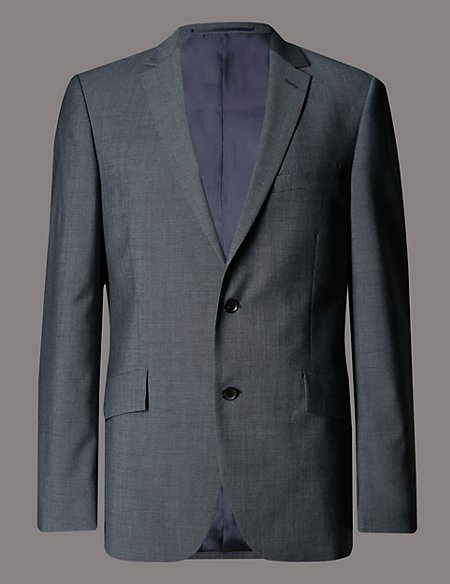 Grey Tailored Fit Wool Jacket