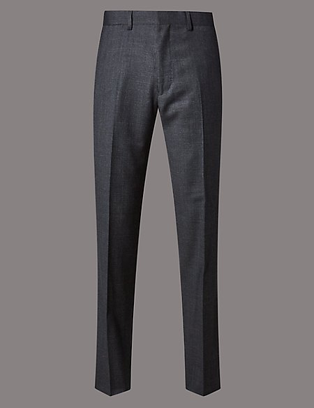 Charcoal Textured Tailored Wool Trousers