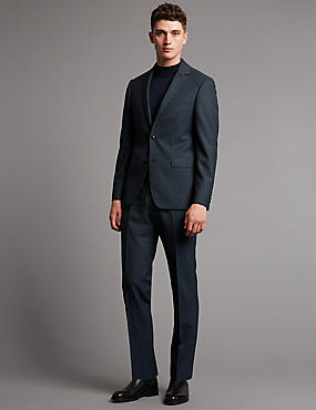 Denim Textured Tailored Fit Wool Suit