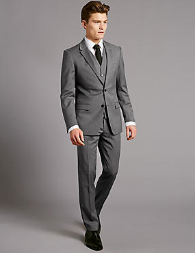 Grey Textured Slim Fit Wool Suit