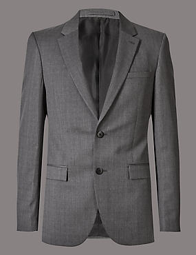 Big & Tall Grey Tailored Fit Wool Jacket