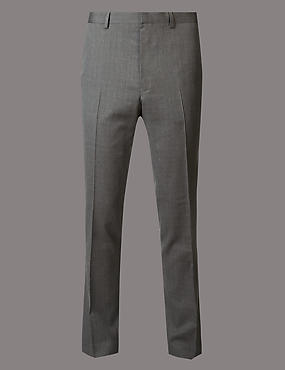Grey Textured Slim Fit Wool Trousers