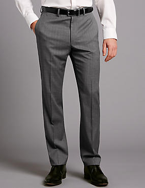 Big & Tall Grey Tailored Fit Wool Trousers