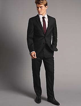 Big & Tall Black Tailored Fit Wool Suit
