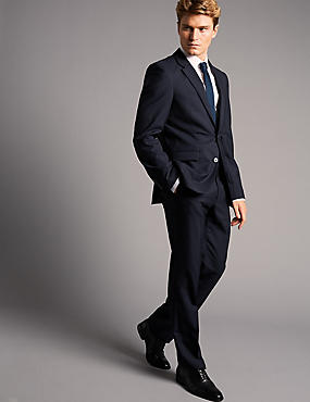 Navy Slim Fit Italian Wool 3 Piece Suit