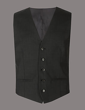 Charcoal Textured Tailored Fit Wool Waistcoat