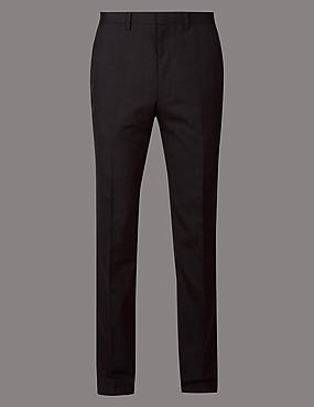 Charcoal Tailored Fit Italian Wool Trousers
