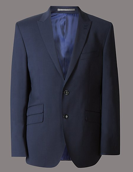 Navy Tailored Wool Rich Jacket with Lycra