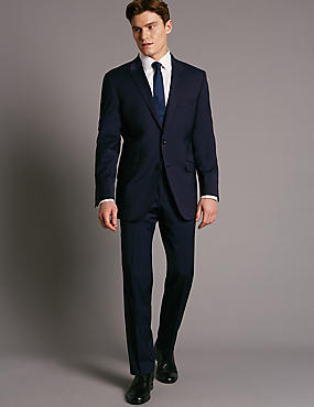 Big & Tall Navy Wool Rich with Lycra 3 Piece Suit