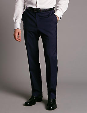 Navy Tailored Wool Rich Trousers with Lycra