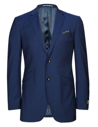 Navy Tailored Fit 2 Button Jacket Clothing