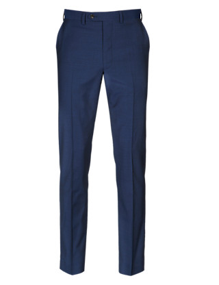 Pure New Wool Flat Front Trousers Clothing